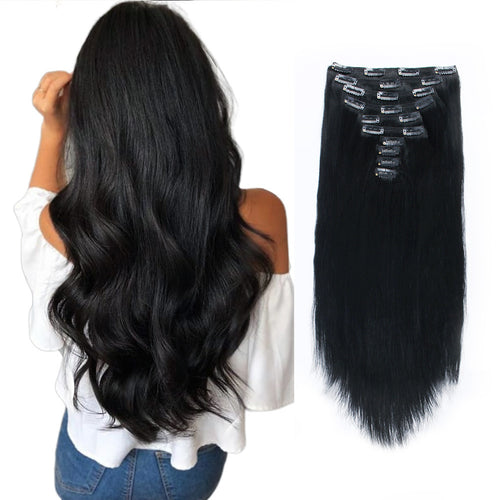 Flowery Star 220g Clip In Hair Extensions Jet Black 1#