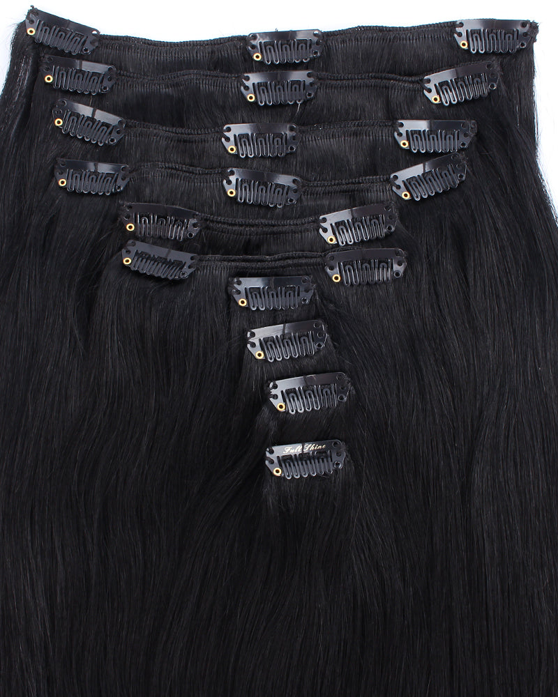 Deluxe Star 160g Clip In Hair Extensions Jet Black 1#