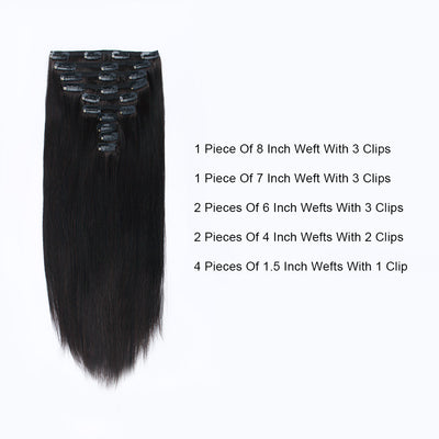 Flowery Star 220g Clip In Hair Extensions Off Black 1B#