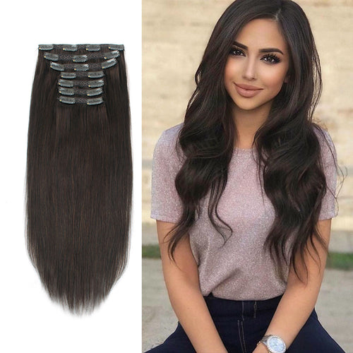 Clip In Hair Extensions Remy Human Hair Dark Brown 2#