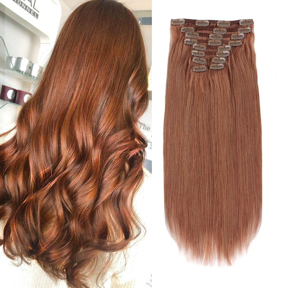 Flowery Star 220g Clip In Hair Extension Medium Auburn 30#