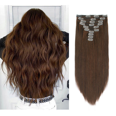 Flowery Star 220g Clip In Hair Extensions Chocolate Brown 4#