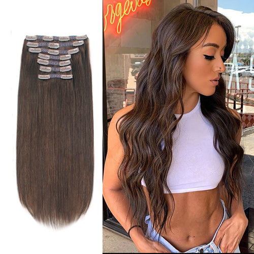 Clip In Hair Extensions For Fine Hair Chocolate Brown 4#