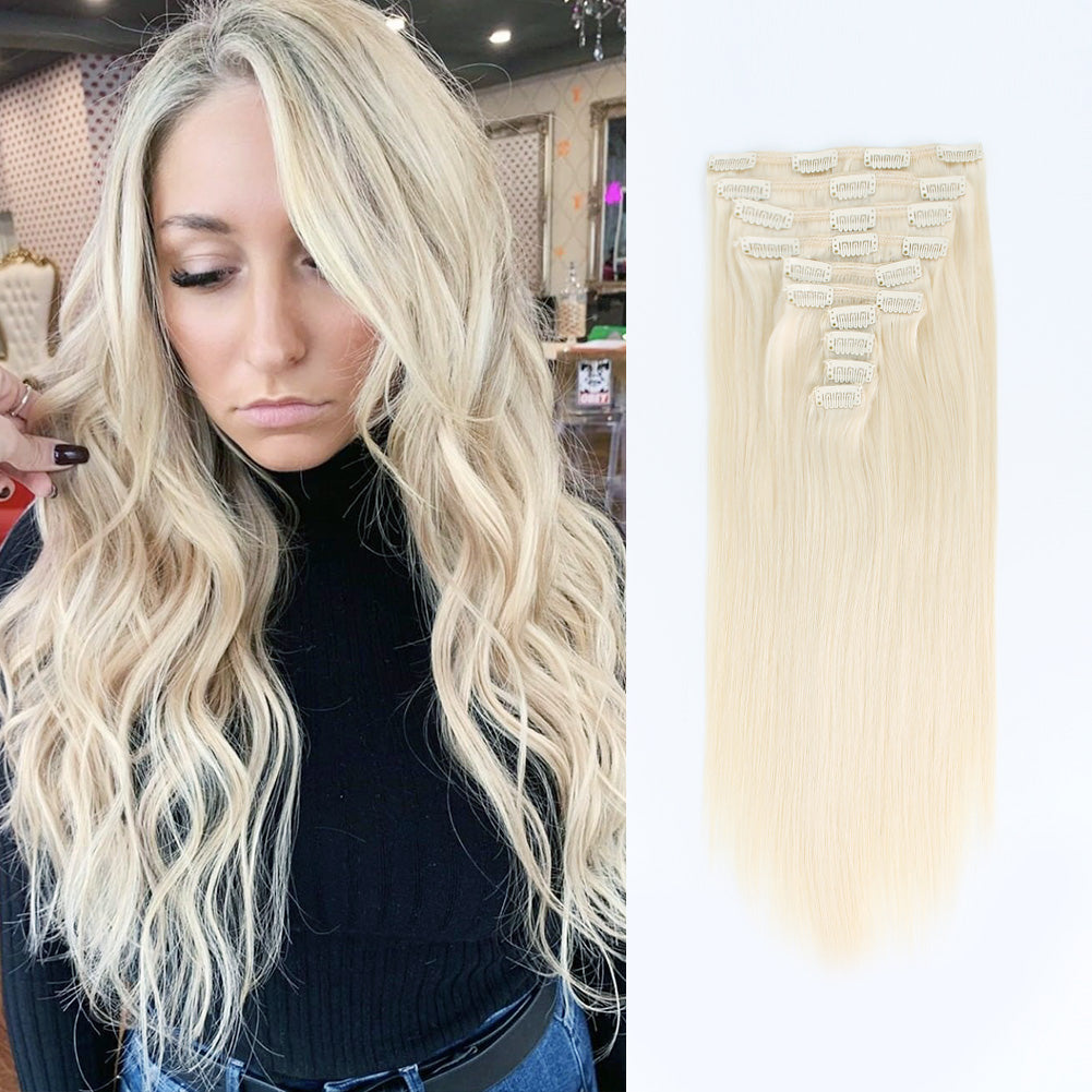 Flowery Star 220g Clip In Hair Extension Ash Blonde 60#