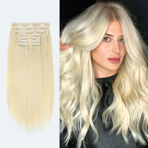 Blonde Clip In Human Hair Extensions Beach Blonde 613#