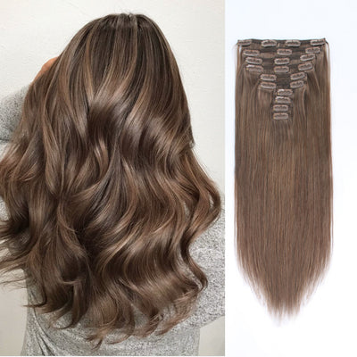 Flowery Star 220g Clip In Hair Extensions Chestnut Brown 6#