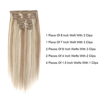 Flowery Star 220g Clip In Hair Extension Highlighted Color P8-60#