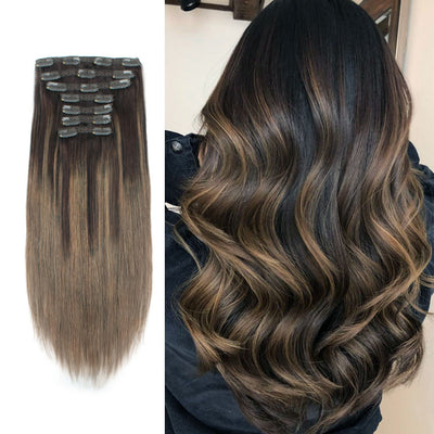 Clip In Hair Extensions Remy Human Hair Balayage B2-6#