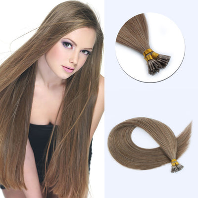 Lovely Star I Tip Hair Extensions Ash Brown 8#