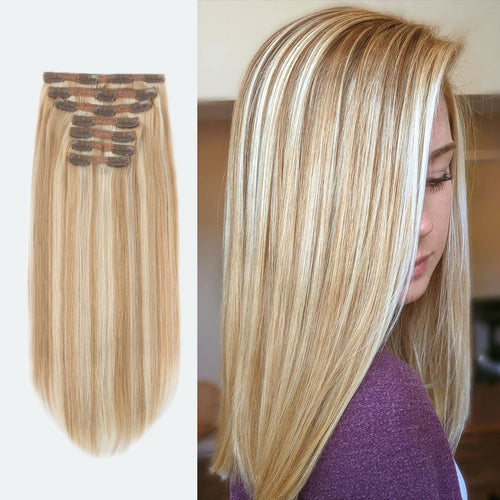 Clip In Hair Extensions Remy Human Hair Highlight P12-60#