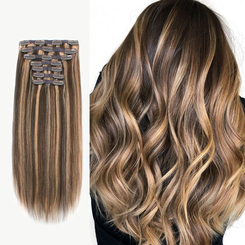 Clip In Hair Extensions Remy Human Hair Highlight P4-27#