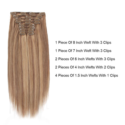 Deluxe Star 160g Clip In Hair Extension Highlighted Color P6-12#