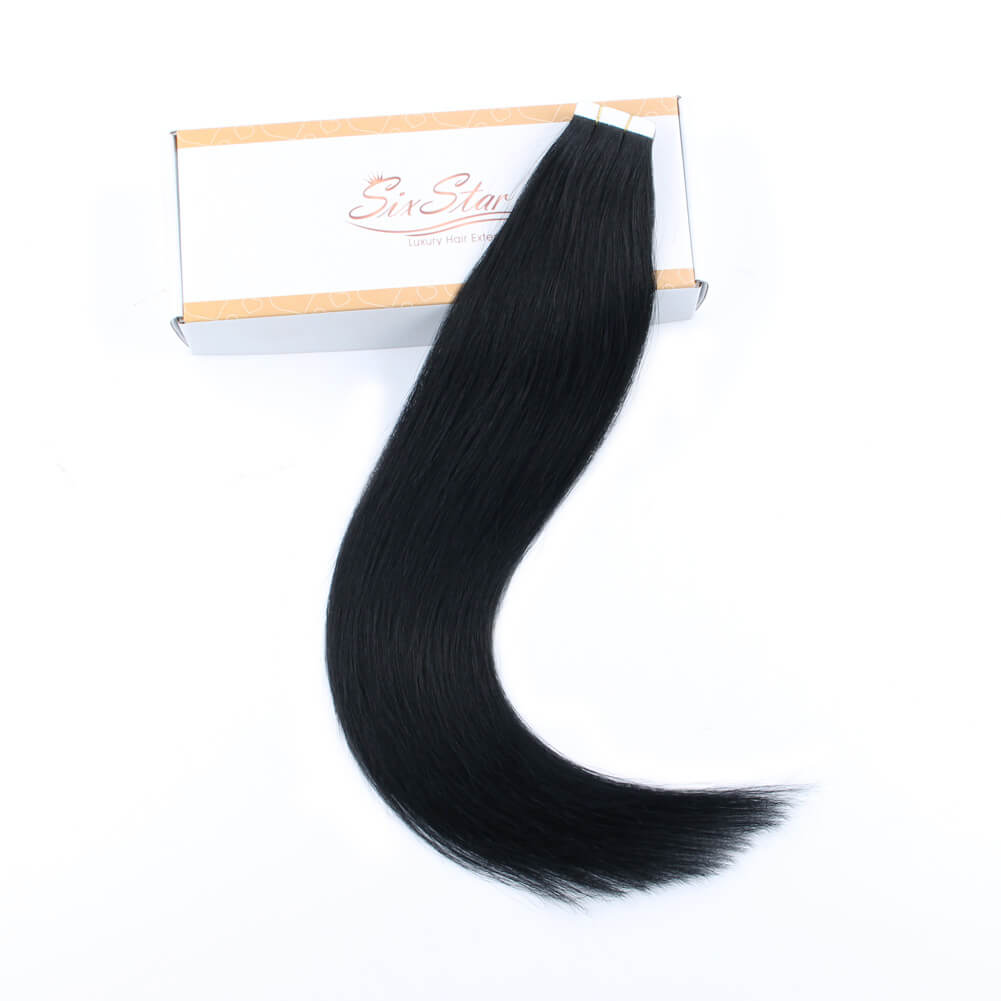 Elegant Star Tape In Hair Extensions Jet Black 1#