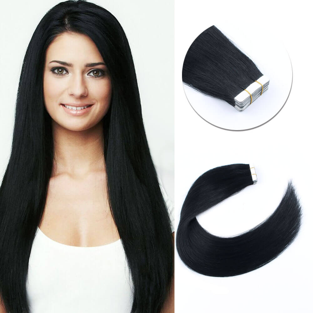 Tape In Hair Extensions Jet Black 1# Elegant Star