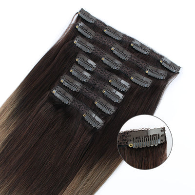 Clip In Hair Extensions Remy Human Hair Ombre T2-6#