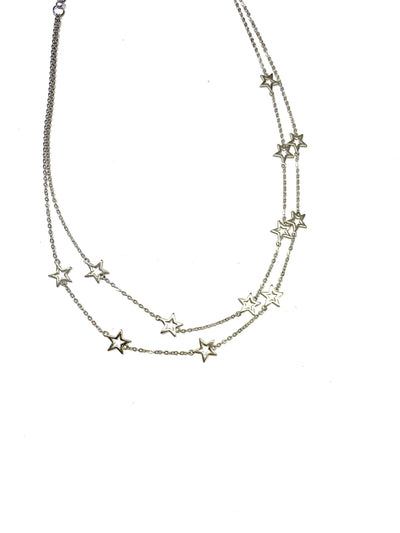 Collar Choker outline star silver