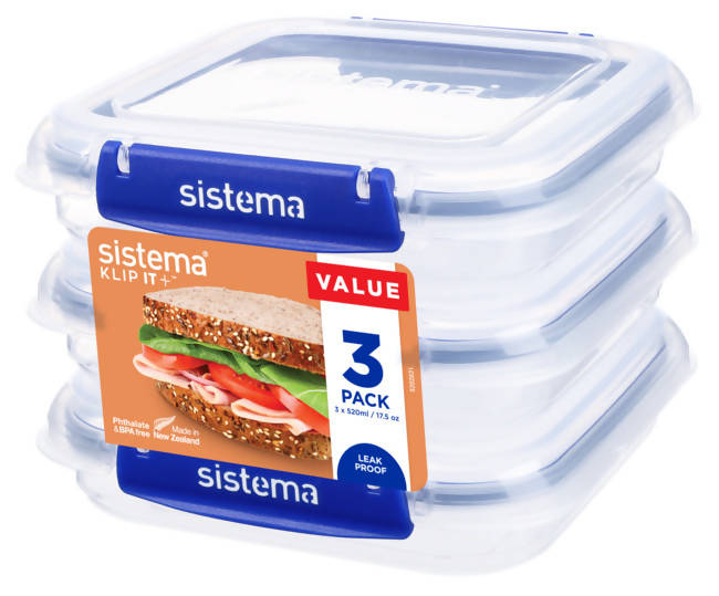 SISTEMA - Set 3 contenedores sándwich 450 ml.