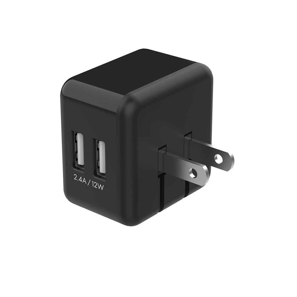 TECH N' COLOR 2.4A Dual Port USB 2.0 ETL Certified Wall Charger