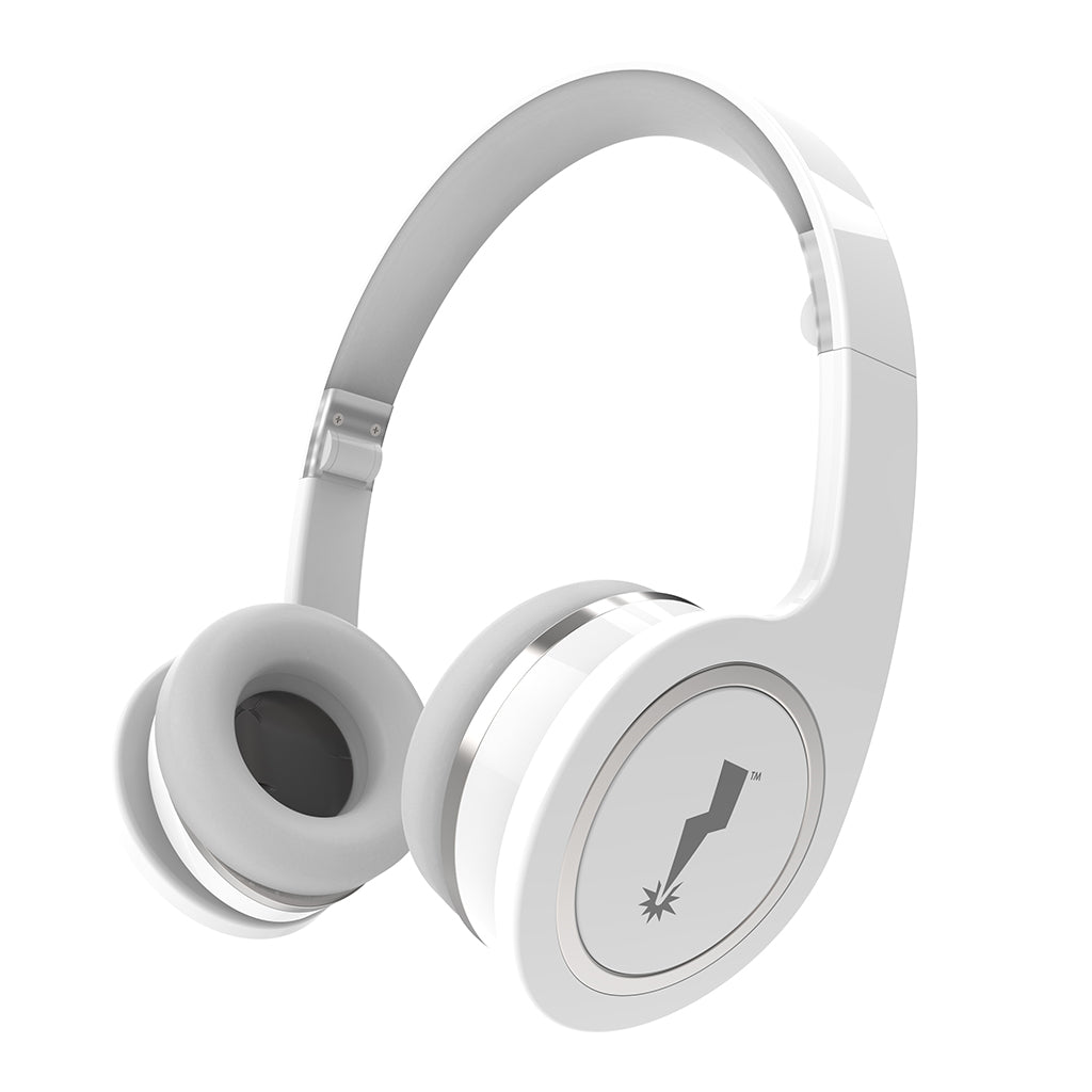 Fold-Up On the Ear Headphones with In-Line Microphone - White
