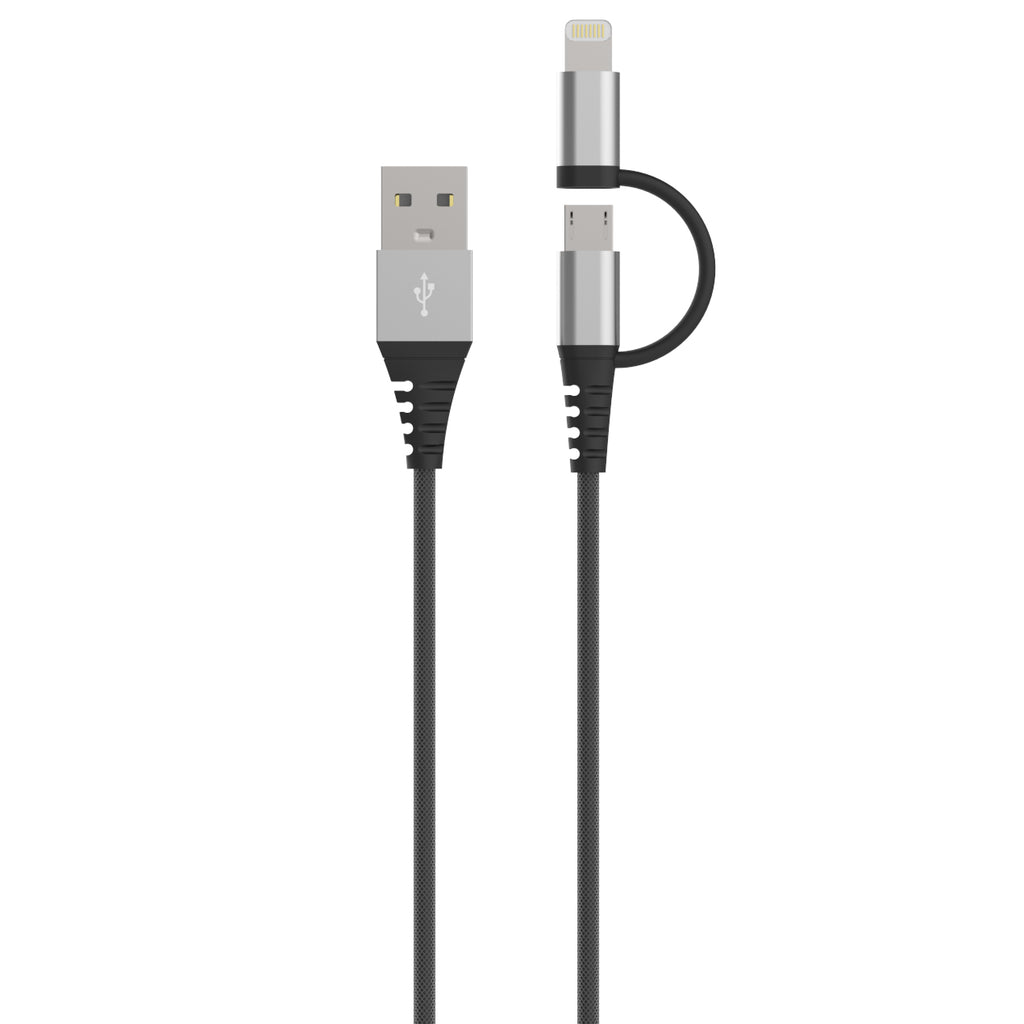 Dura Armor™ SwitchTip 4 Foot Micro-USB & MFi Lightning® Charge & Sync Cable