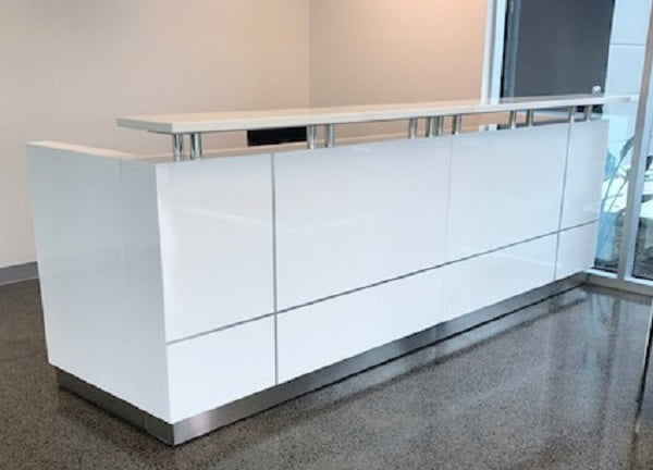 Hugo Plus Reception Desk Gloss White Counter - Reception Counters