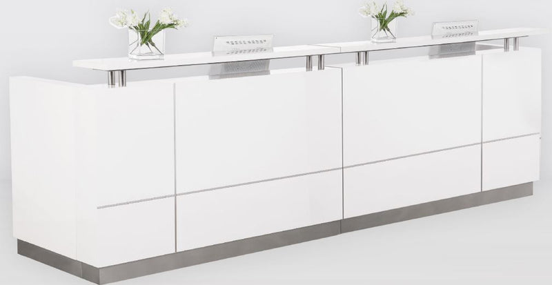 Hugo Plus Reception Desk Gloss White Counter