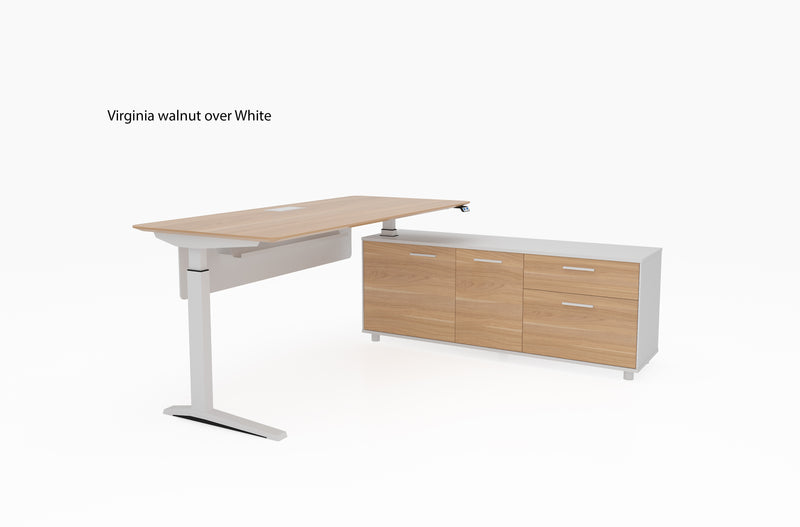 Potenza sit to stand executive desk Virginia walnut over white