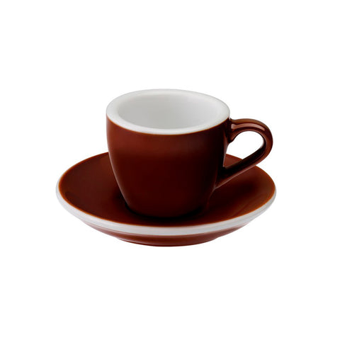 TAZA Y PLATO PARA CAFÉ ESPRESSO LOVERAMICS EGG 80 ML MARRON (BROWN)
