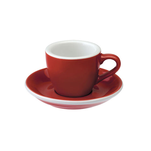 TAZA Y PLATO PARA CAFÉ ESPRESSO LOVERAMICS EGG 80ML ROJA (RED)