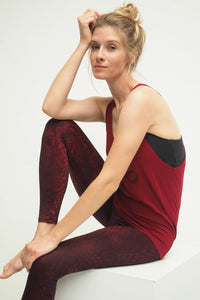 Yoga Leggings SNAKE GRAPE, 7/8, Bordeaux