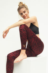 Yoga Leggings ZEBRA GRAPE, 7/8, Bordeaux