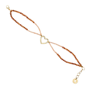 Yoga Armband OPEN HEART, Gold + Granat