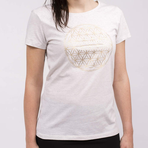 Yoga T-Shirt FLOWER OF LIFE, Weiß