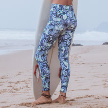 Laden Sie das Bild in den Galerie-Viewer, Yoga Leggings TROPICAL, Blau