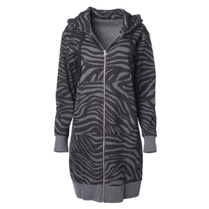 Sweatjacke PANGU Animalprint, Grau