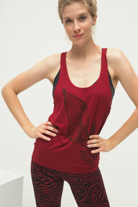 Yoga Tanktop WINGS, Bordeaux Rot