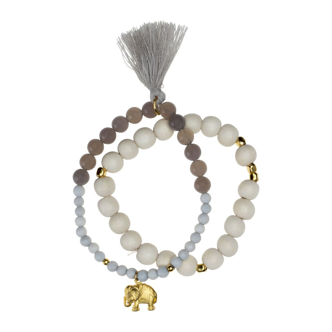 Yoga Mala Armband INDIAN ELEPHANT, Chalcedon + Gold