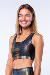 Yoga Top Racerback SNAKE, Metallic