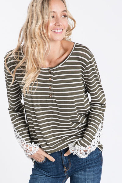 Olive and Ivory Striped Top