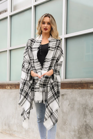 Classic Plaid Pocket Ruana Wrap