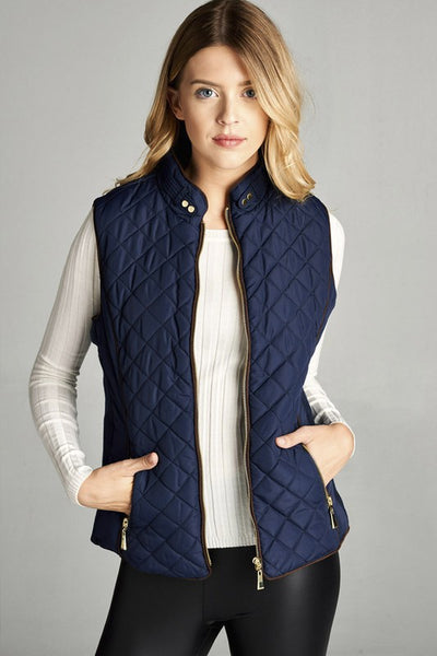 Faux Shearling Lined and Quilted Padded Vest