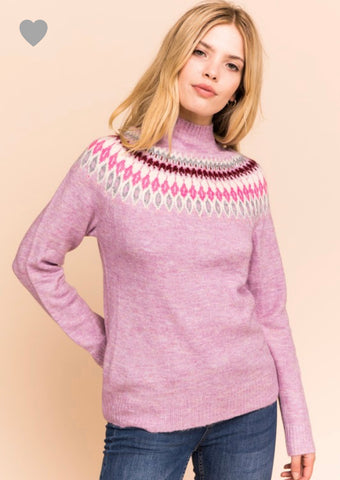 Pink Fair Isle Sweater