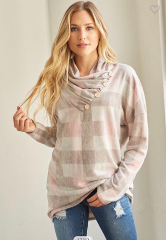 SOFT BRUSHED  COWL NECK SWEATER TOP