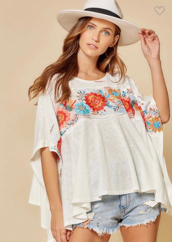 MCKAYLA EMBROIDERY TOP!!