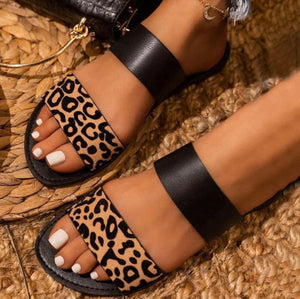 Strappy Leopard/Black Sandals