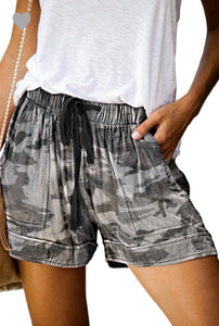 CAMO & TIE-DIE LOOSE CASUAL DRAWSTRING SHORTS