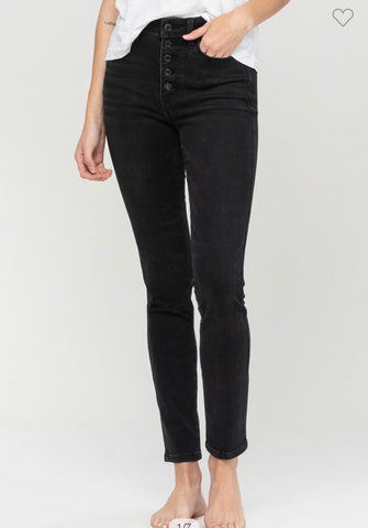 High Rise Button Fly Dark Wash Skinnies!