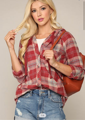 ADORABLE PLAID HOODIE FLANNEL