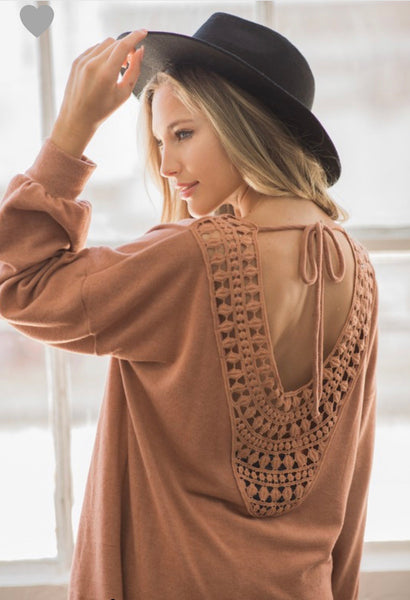 Gorgeous Hacci Knit Crochet Back Sweater