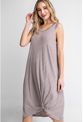 Twisted Front Stripe Tank Dress